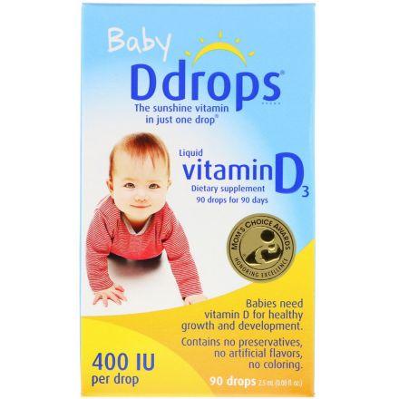 Ddrops, 婴儿液体维生素D3,400 IU,2.5ml