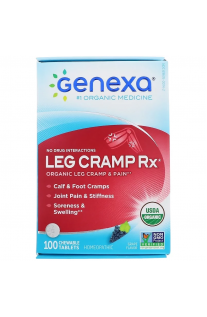Genexa, Leg Cramp Rx,有機,腿抽筋及疼痛,葡萄味,100片咀嚼片