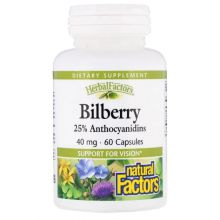 Natural Factors, Herbal Factors, Bilberry, 40mg, 60 Capsules