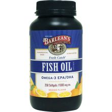 Barlean's, Fresh Catch, Fish Oil Supplement, Omega-3 EPA/DHA, Orange Flavor, 1000 mg, 250 Softgels