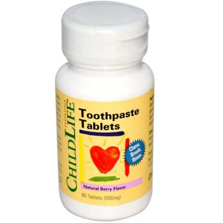 ChildLife, 兒童牙膏片, 天然漿果味道, 500mg, 60片