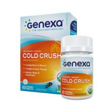 Genexa, Cold Crush for Adult, Organic Cold & Cough, Organic Acai Berry Flavor, 60 Chewable Tablets