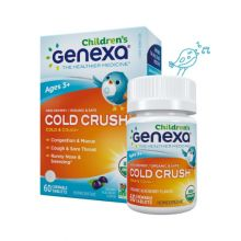 Genexa, Cold Crush for Children, Age 3+, Organic Cold & Cough, Organic Acai Berry Flavor, 60 Chewable Tablets