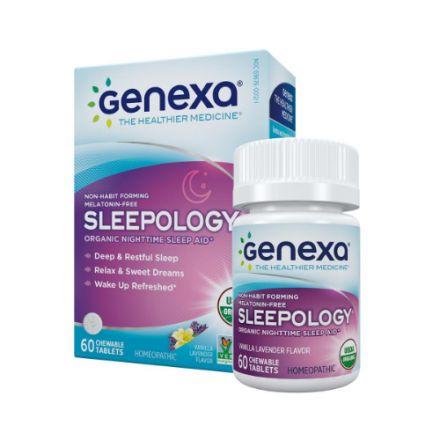 Genexa, Sleepology, 有机草本夜间安睡咀嚼片 (香草薰衣草味-不含褪黑激素) 60片