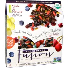 Made in Nature, Organic Dried Fruit, Super Berry Fusion, 5 Packages, 1 oz Each