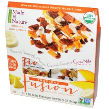 Made in Nature, Organic Dried Fruit, Tropical Fusion, 5 Packages, 1 oz Each