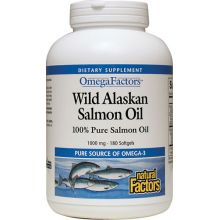 Natural Factors, Omega Factors, Wild Alaskan Salmon Oil, 1000 mg, 180 Softgels