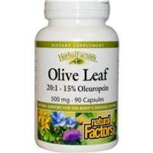 Natural Factors, 橄欖葉精華, 500 mg, 90粒