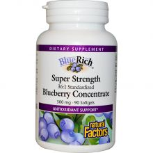Natural Factors, BlueRich Super Strength Blueberry Concentrate, 500 mg, 90 Softgels