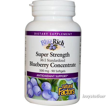Natural Factors, BlueRich, 超強藍莓精華, 500 mg, 90 粒