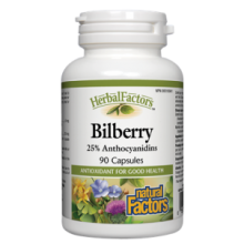 Natural Factors, Herbal Factors, Bilberry, 40mg, 90 Capsules