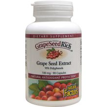 Natural Factors, GrapeSeedRich, Grape Seed Extract, 100 mg, 90 Capsules