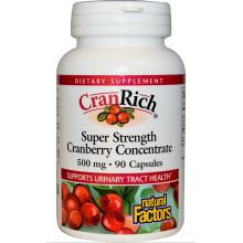 Natural Factors, CranRich, Super Strength Cranberry Concentrate, 500 mg, 90 Capsules