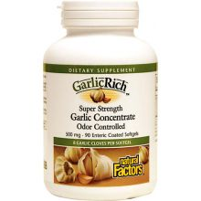 Natural Factors, GarlicRich, Garlic Concentrate, Odor Controlled, 500 mg, 90 Enteric Coated Softgels