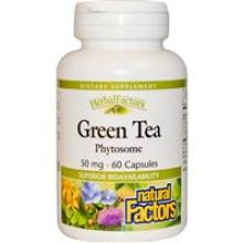 Natural Factors, 綠茶精華, 不含咖啡因, 50 mg, 60粒