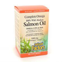 Natural Factors, Omega Factors, 阿拉斯加野生三文魚油, 1300 mg, 220粒