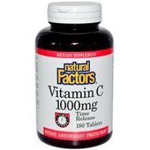 Natural Factors, 长效型维他命C, 1000 mg, 180片