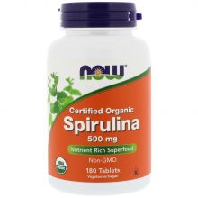 NOW Foods, Organic Spirulina - 500 mg, 180 Tabs