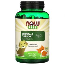 Now Foods, Pets, Omega-3 Support Dog & Cat Supplement, 180 count