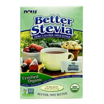 Now Foods, 有机认证甜菊糖 - 75包, 2.65 oz (75g)