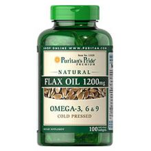 Puritan's Pride, Natural Flax Oil 1200 mg, 100 Softgels