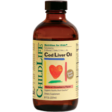 Childlife Liquid Cod Liver Oil, Strawberry Flavor 8 Fl.Oz. (237ml)