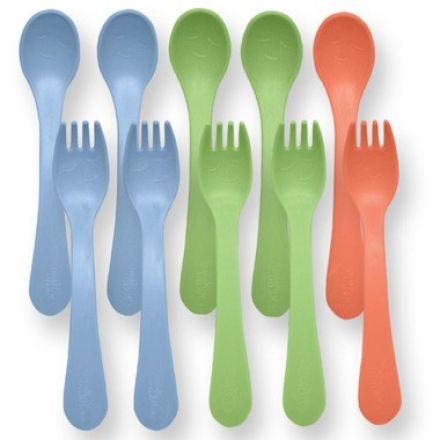 iplay 綠芽系列 - 幼兒叉子和匙子套裝 (10隻) - 男孩